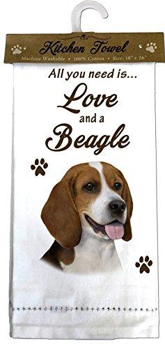 E&S Pets Beagle Kitchen Towels, Off-white
