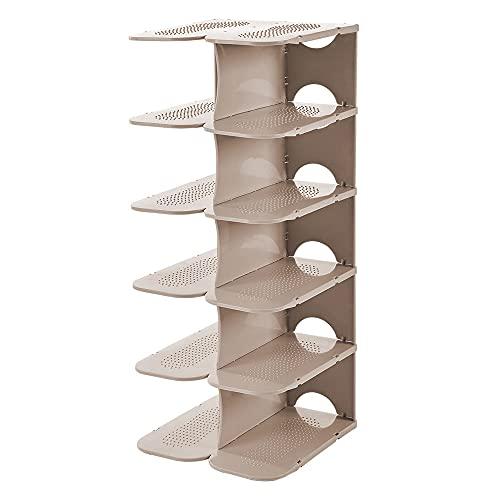 Wll adult Hobby Zapatero de plástico fino de 6 niveles que ahorra espacio, organizador de zapatos ajustable, combinación libre, zapatero robusto apilable, caqui