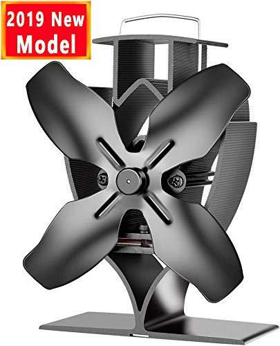 Ventilateur de chaleur à chaleur Aobosi pour brûleur / cheminée à bois / bûches, ventilateur, Four à ventilateur avec 4 pales de rotor et large plaque de connexion, silencieux et écologique
