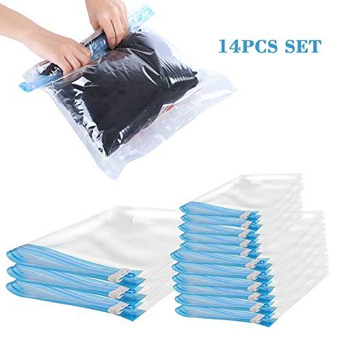 14PCS Vacuum Compression Bag Aufbewahrungsbeutel Thick Transparent Organizer