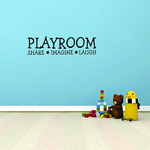 "Wall Decal Quote Playroom Share Imagine Laugh Kids Room Children Parenting Toys Vinyl Sticker Home Decor Wall Decal CHILDRENS ROOMS Size 8"" x 20"", Black"