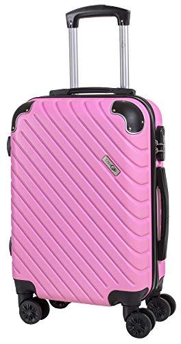 CABIN GO MAX 5510 Valigia Trolley ABS, bagaglio a mano 55x37x20, Valigia rigida, guscio duro e antigraffio con 8 ruote, Ideale a bordo di Ryanair, Alitalia, Air Italy, easyJet, Lufthansa ROSA