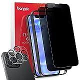 BANNIO Protector Pantalla Antiespias Compatible con iPhone 13 Pro Max(6.7'),[2+2 Unidades] Cobertura Completa Privacidad...