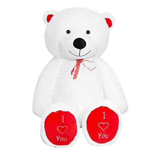 TEDBI Teddybär 180cm | Farbe Weiß | Groß Teddy Bear Plüschbär Stofftier Kuscheltier Plüschtier Herz XXL Teddi Bär mit Stickerei I Love You Ich Liebe Dich