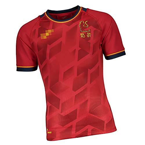 GWCASA Camisetas de Rugby para Hombres España Inicio Rugby Jersey, Top de Uniforme de Entrenamiento atlético, Equipos de Apoyo S