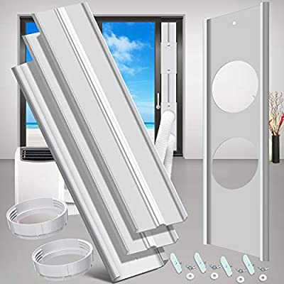 """gulrear Sliding Door Air Conditioner Kit with Dual Hose Adjustable Length from 20"""" to 87"""" Suitable for 5.9"""" Diameter Exhaust and Intake Dual Hose Portable AC Sliding Glass Door Vent Kit from gulrear"""