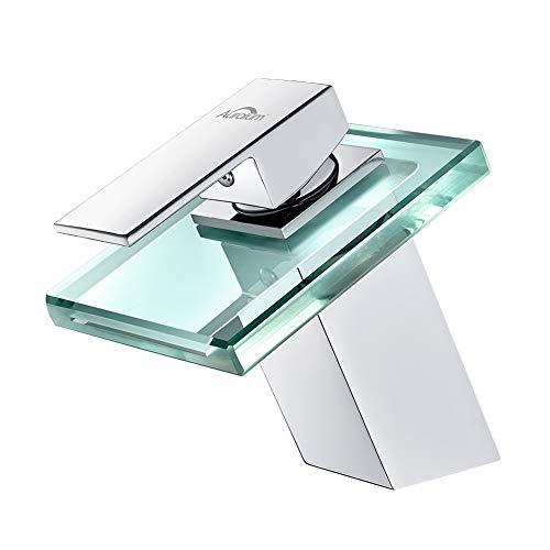 Auralum Waschtischarmatur Badarmatur Wasserfall Wasserhahn aus Glas, Waschbecken Armatur Einhandmischer fürs Bad Badezimmer, chrom