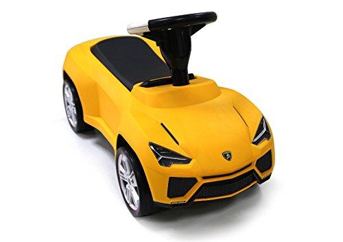 ES-TOYS Kinderauto - Rutscher - Auto Lamborghini Urus lizenziert - mit Ledersitz (Gelb)