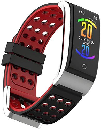 Reloj inteligente con monitor de actividad física, pasos de sueño, contador de calorías, visualización de temperatura, reloj de pulsera (color: rosa y verde), negro y rojo