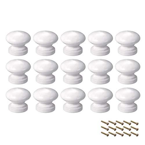 DyniLao Okrągłe drewniane gałki, 15 szt. 24mm Dia Meble szafkowe Kuchnia ciągnie uchwyty do komody z szufladami, biała