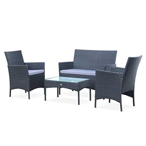 Salon de Jardin en résine tressée - Moltès - Noir. Coussins Gris - 4 Places - 1 canapé. 2 fauteuils. Une Table Basse