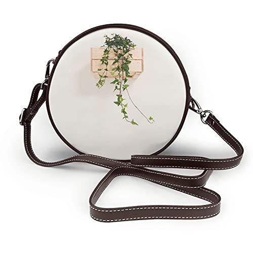 fepeng Pequeño bolso de hombro en forma redonda Hermoso verde Circular Crossbody Bag Bolsas de hombro de cuero de microfibra, café, Talla única