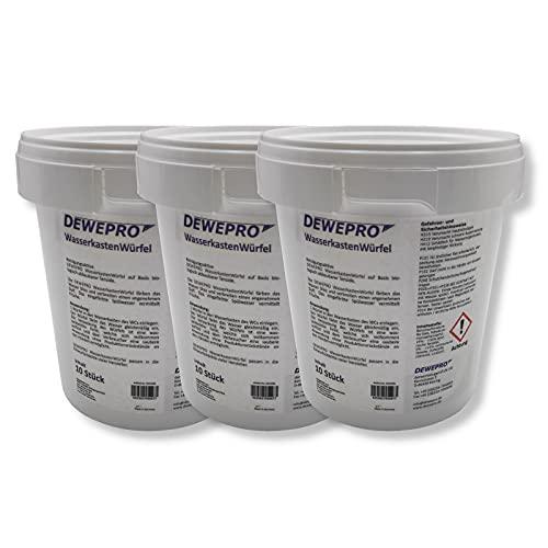 DEWEPRO WasserkastenWürfel 3 Dosen à 10 Stück - der WC-Reiniger zum Einwurf in Spülkästen vieler Hersteller (z.B. Geberit, Sanit) mit Einwurfschacht