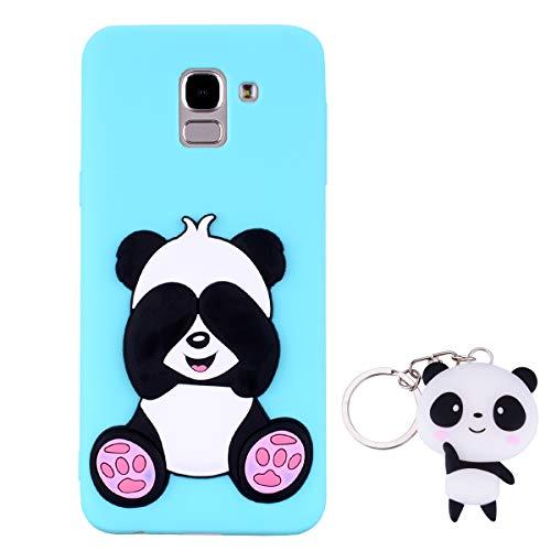 HopMore Panda Funda para Samsung Galaxy J6 Plus (J6+) 2018 Silicona con Diseño 3D Divertidas Carcasa TPU Ultrafina Case Antigolpes Caso Protección Cover Dibujos Animados Gracioso con Llavero - Verde