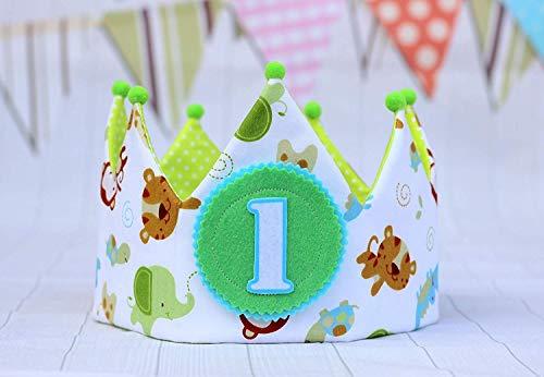 Corona bebe cumpleaños unisex, corona de tela de dibujos de los animales de la selva