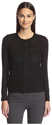 Pringle of Scotland Women's Lace Front Cardigan, Black, XS