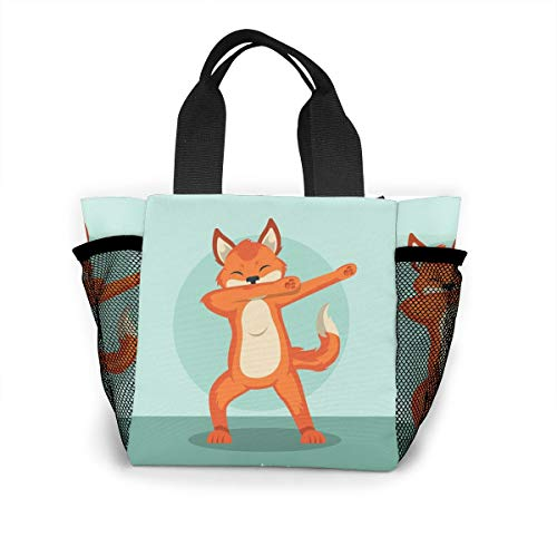 cute animal fox dabbing Handbag Women Fashion Bag Reusable Shopping Bags Light Handbags High Capacity Gift Bags Food Storage Bags