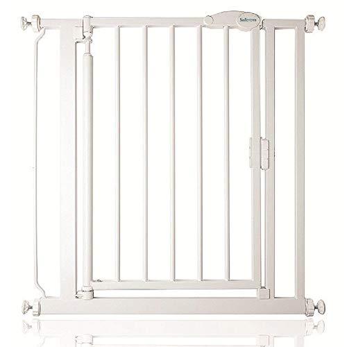 Safetots Verja de cierre automático de ajuste a presión, Blanco, 68.5-75 cm
