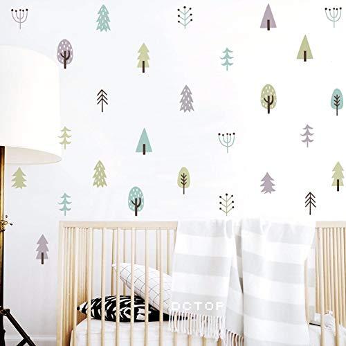 Pegatinas De Pared Estilo Nórdico Woodland Tree Vinilos Adhesivos Para Decoración De Viveros De Árboles De 4 Colores De Pared De Vinilo Pegatinas Para Niños Casa Habitación Decoración De Arte De