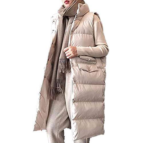 Lazzboy Gilet Women Coat Puffer Cotton Quilted Padded Turtleneck Stand Collar Solid Warm Ladies Sleeveless Jacket Outwear (10,Beige)
