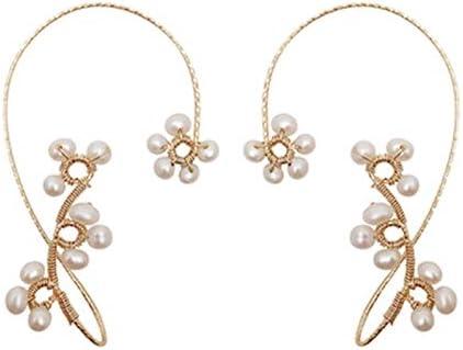 1Pair Vintage Ear Cuff Earrings,Ear Wrap Crawler Hook Earrings for Women Girls (Pearl)
