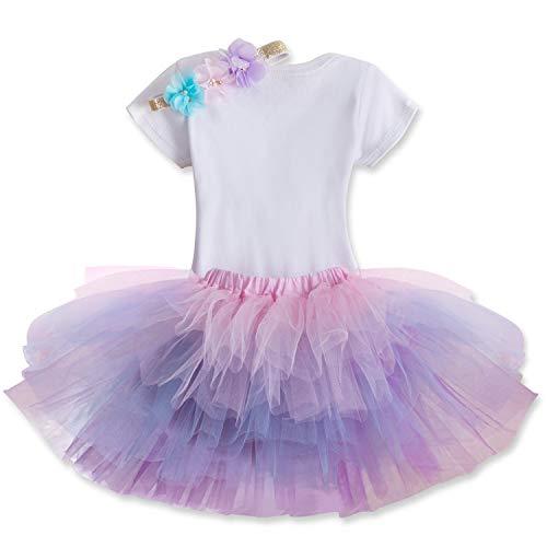 TTYAOVO Bebé Niña 1er cumpleaños 3pcs Conjuntos con Diadema de Unicornio y Mameluco y Faldas (Melocotón, 1 año)