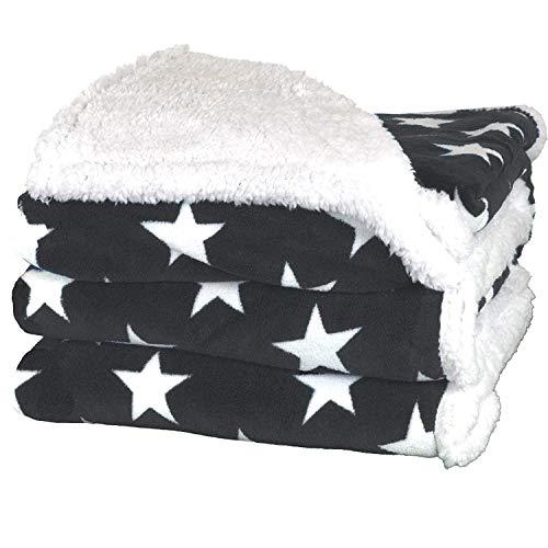 Delindo Lifestyle® Wohndecke VARIUS Sterne GRAU, Microfaser Coral-Fleece-Decke in 150x200 cm, flauschig weiche Kuscheldecke mit Lammfelloptik für Erwachsene und Kinder