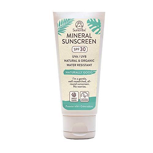 Suntribe Protector Solar Natural - Body & Face - FPS 30 - Resistente al agua - 7 Ingredientes - Seguro para arrecifes - 100% Zinc - Fórmula ligera - No grasso - De blanco a transparente (100ml)