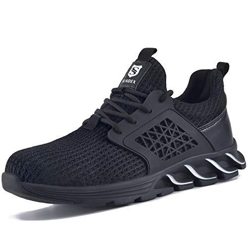 [JACKS HIBO] 安全靴 あんぜん靴 作業靴 スニーカー メンズ レディース 軽量 セーフティーシューズ 鋼製先芯 通気性抜群 防滑 耐摩耗 クッション性 オシャレ ブラック 27.5cm