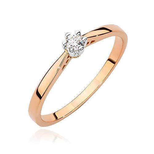 Anillo solitario de compromiso para mujer, oro rosa 585 de 14 quilates, diamante natural
