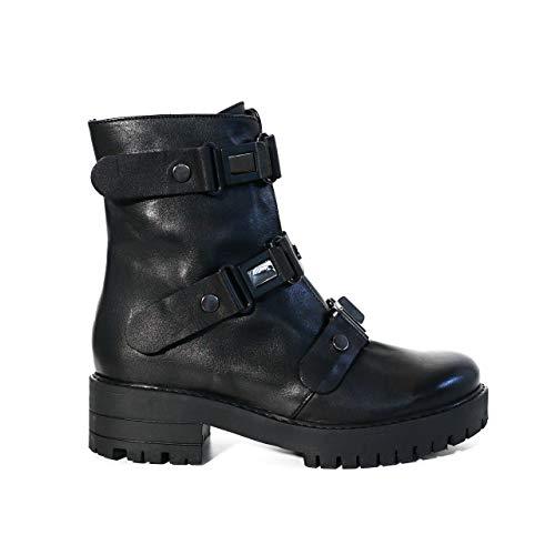 KUZEY SHOES Damskie buty – botki damskie – botki damskie – buty zimowe damskie – botki – damskie – skórzane buty damskie, czarny - czarny - 39 eu
