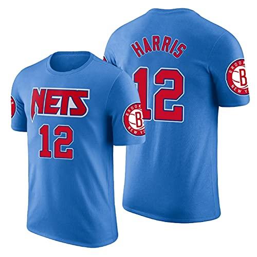 QJW Harris Baloncesto Mangas Cortas Jersey Nets # 12 Retro Casual Sports City Version Malla Camiseta Adecuada para Entrenamiento al Aire Libre (S-2XL) 5-XXL