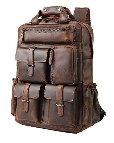 TIDING Rucksack Herren Leder Rucksack 15,6 Zoll Laptop Tasche Schulbuchtasche mit Trolly Strap, große Kapazität Daypacks für Männer Umhängetasche braun