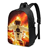 Portgas D.Ace Laptop Backpack - con porta di ricarica USB/Zaini impermeabili casual alla moda per la maggior parte dei laptop da 17/15,6 pollici