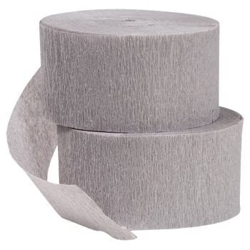 DENNECREPE 2 Rolls Gray Crepe Paper Streamers; 145 Feet Total; Made in USA
