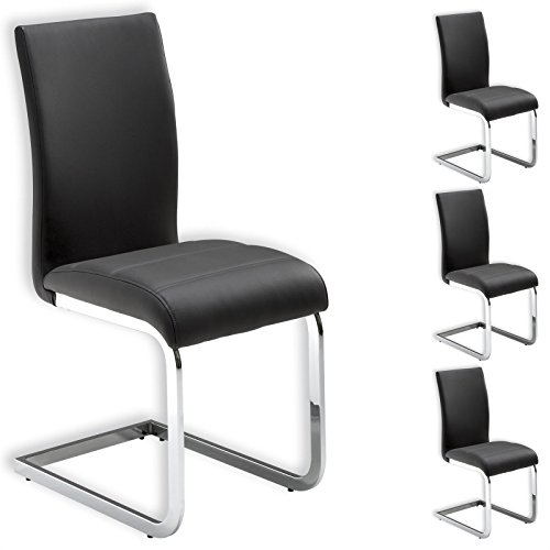 IDIMEX Stuhl Schwingstuhl Esszimmerstuhl Sitzgelegenheit LETICIA, grau, im 4er Pack