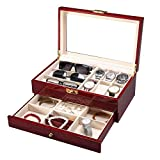 MUBAY Reloj caja de almacenamiento de 6 ranuras de madera de cerezo reloj de la joyería del caso de exhibición Colección organizador de la caja con el vidrio permite ver claramente superior Tiene 6 re