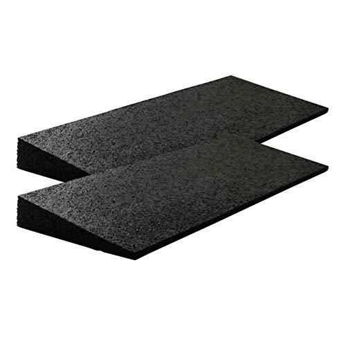 Bordsteinrampe Gummi 500x200x(8-43) mm Set = 2 Stück schwarz (Rampe Gummikeil Rohlstuhlrampe Auffahrrampe Auffahrkeil Auffahrhilfe Türschwellenrampe, Autorampe)