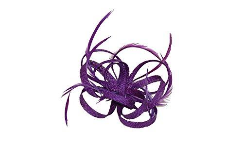 Accessoire pour cheveux avec boucles en Sinamay et plumes monté sur barrette A Cheveux Broche Pin.