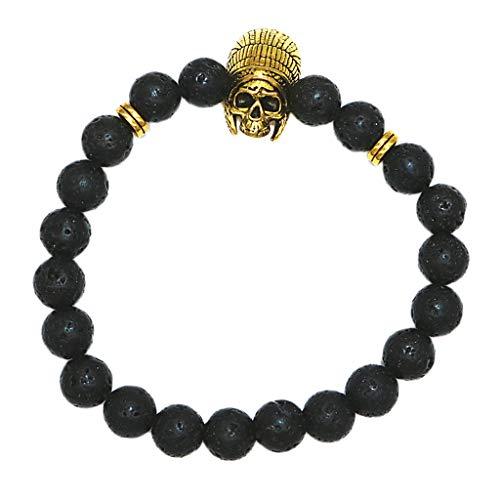 dailymall Unisex Perlenarmband Lavastein Armband Armkette Armschmuck als Parfum-Diffusor Geschenk für Jubiläen, Geburtstage, Hochzeiten - Golden