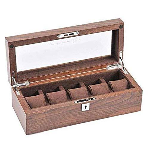wangYUEQ Caja de Reloj-Caja de Almacenamiento de recolección de joyería de joyería solarrof con Cerradura
