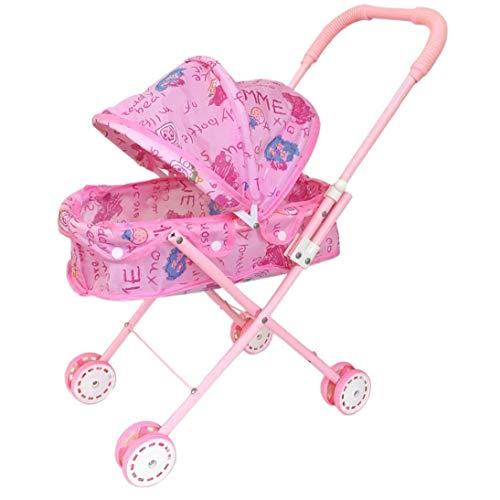 Aardich Plegable Muñeca Cochecito con Capucha Adorable muñeca del Cochecito de niño de Peso Ligero de Rosa de bebé de Juguete Cochecito para el bebé, niños pequeños