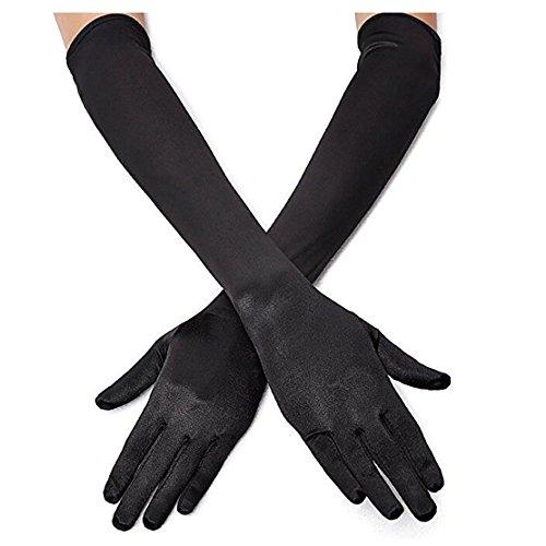"Women's 22"" Long Elbow Satin Finger Gloves Black 1920s Opera Bridal Dance Gloves For Evening Party Opera Costume, Black"