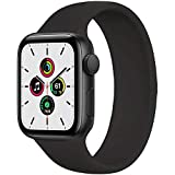 WAAILU Solo Loop Band Compatible with Apple Watch SE Series 6 Bands 38mm 40mm 42mm 44mm, No Clasps or Buckles, Stretchable Soft Silicone, Compatible for iWatch Series 5/4/3/2/1-(Black-42/44-10)