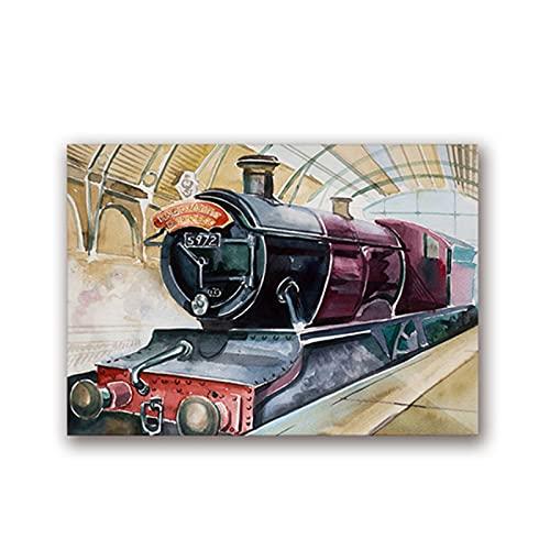 Castle Express pintura arte lienzo impresiones Poster de película tren Vintage cuadro de pared habitación de niños Decoracion de arte de pared 60x80 cm x1 sin marco
