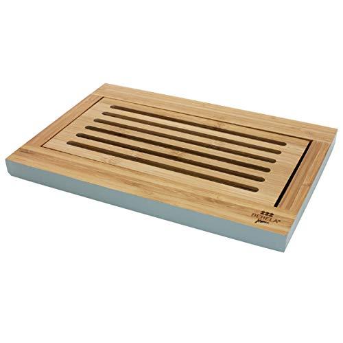BERELA - LOOT Tabla de Bambú para Cortar Pan con depósito de Migas, Tabla de Cocina Especialmente diseñada para Pan. Tabla de Cortar Pan con Recogemigas. Tabla de Corte para Pan Resistente 100% Bambú