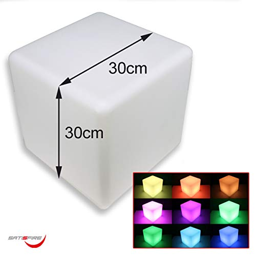 LED CUBE | Leuchtwürfel, Sitzwürfel, Deko-Objekt | RGB Farbwechsel | In-+ Outdoor | Akku | Fernbedienung IR | Garten, Terrasse, Balkon, Wohnung, Bar (30cm)