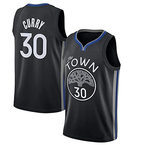 Camiseta De Baloncesto De Malla, Tops De Bordados Uniformes De Baloncesto para Hombres # 30 Curry Uniformes Deportivos Transpirables,Negro,S