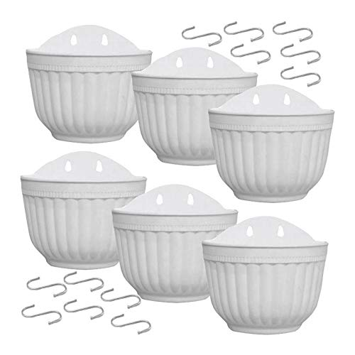 NKIE Convenient Flower Pots, Pack of 6 8.2-inch Wall-mounted Flower Pots Vertical Garden Window Hanging Boxes Containers for Growing Herbal Flowers with Hooks Easy to drain (Color : White)