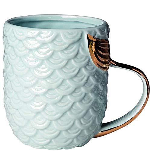 VANUODA Sirena Taza, Tazas de café de cerámica con Manija de Cola de Sirena - Regalo Cumpleaños Mujer - Navidad - Compromiso - Boda, Dia de la Madre Regalos Originales (Azul)